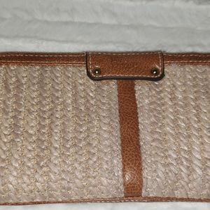 B.O.C. Braided Straw and Leather Clutch ~ NWOT